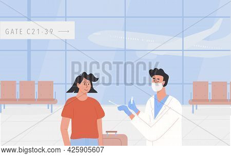 Pcr Testing At Airport Poster. Concept Of Travelling With Fit To Fly Certificate. Covid Test Before