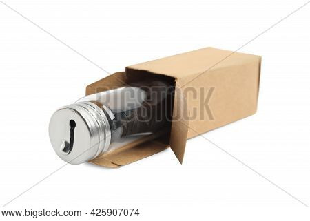Jar With Roll Of Natural Dental Floss In Box On White Background