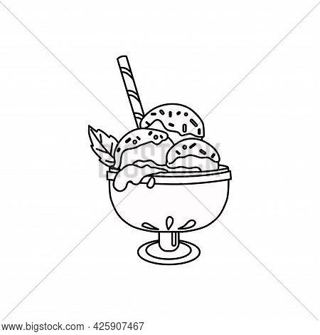 Outline Ice Cream Balls. The Icon. Vector Illustration.