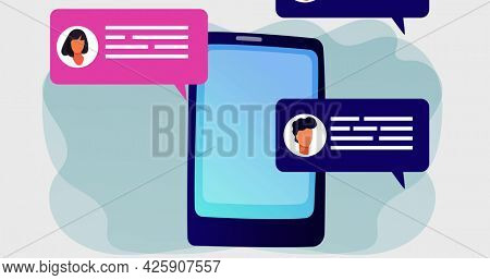 Image of digital tablet screen with social media speech bubbles. connection communication social networking concept digitally generated image.