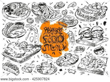 Hand Drawn Vector Illustration On White Background. Cartoon Doodle Restaurant Food Menu: Burger, Nug