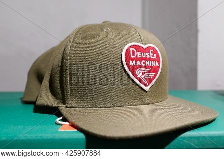Montpellier , Ocitanie France  - 06 30 2021 : Deus Logo Brand And Sign Text On Cap In Fashion Clothe
