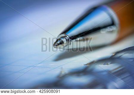 Close up shot of ball point pen tip