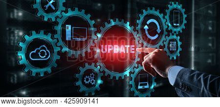 Businessman Is Pressing On The Virtual Screen Update Software Computer