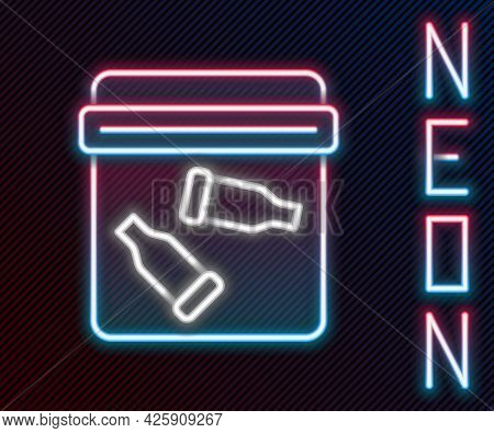 Glowing Neon Line Evidence Bag With Bullet Icon Isolated On Black Background. Colorful Outline Conce