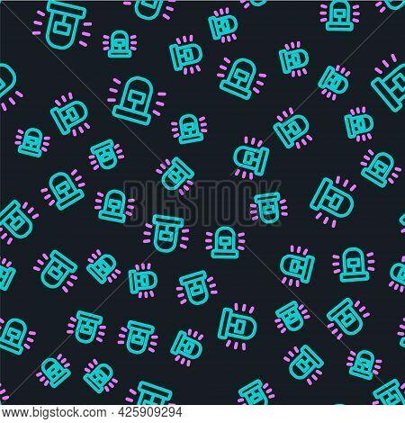 Line Flasher Siren Icon Isolated Seamless Pattern On Black Background. Emergency Flashing Siren. Vec
