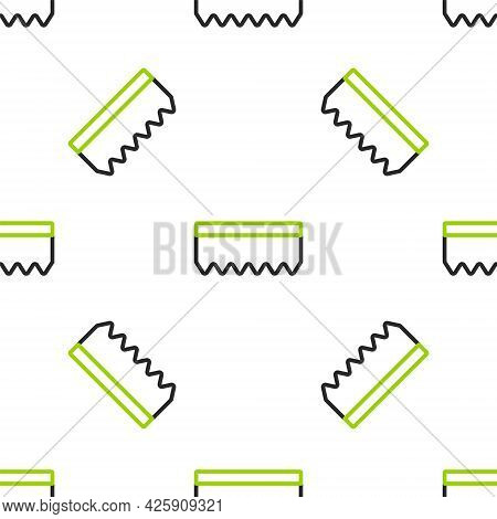Line Sponge Icon Isolated Seamless Pattern On White Background. Wisp Of Bast For Washing Dishes. Cle