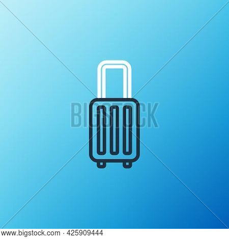 Line Suitcase For Travel Icon Isolated On Blue Background. Traveling Baggage Sign. Travel Luggage Ic