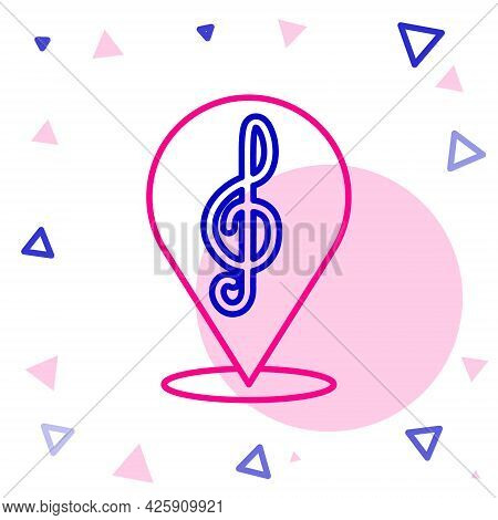 Line Treble Clef Icon Isolated On White Background. Colorful Outline Concept. Vector