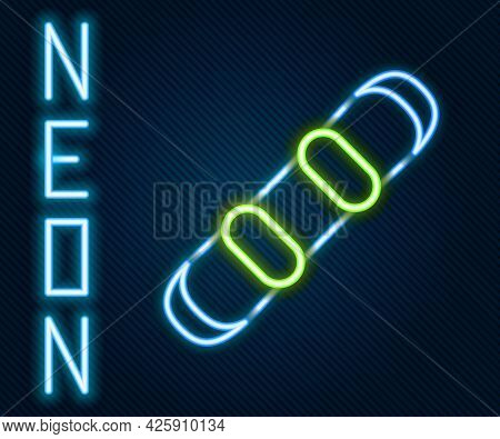 Glowing Neon Line Snowboard Icon Isolated On Black Background. Snowboarding Board Icon. Extreme Spor