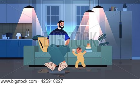 Busy Father Freelancer Working At Home Using Laptop Little Son Playing With Toys Freelance Fatherhoo