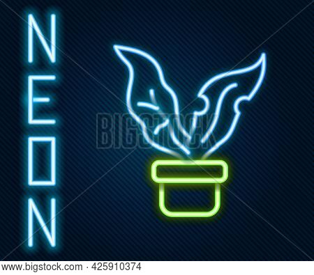 Glowing Neon Line Plant In Pot Icon Isolated On Black Background. Plant Growing In A Pot. Potted Pla