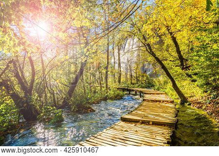 Cascades And Tourist Path In Plitvice Lakes National Park, Croatia