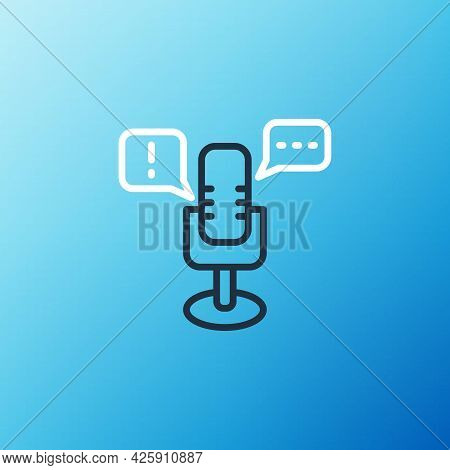 Line Freedom Of Speech Icon Isolated On Blue Background. Freedom Of Expression. Colorful Outline Con