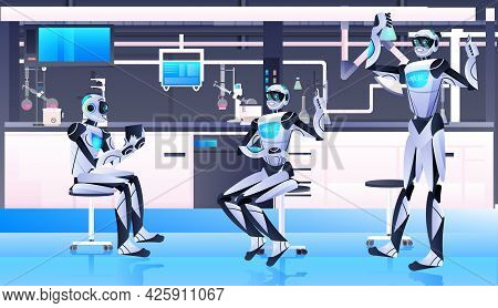 Robotic Chemists Making Chemical Experiments In Lab Genetic Engineering Artificial Intelligence Conc