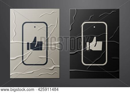 White Hand Like Icon Isolated On Crumpled Paper Background. Paper Art Style. Vector