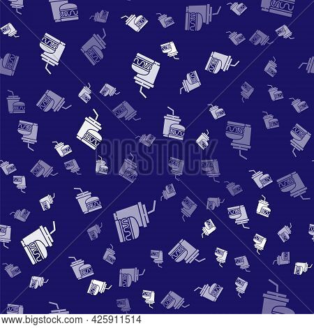 White Paper Glass With Drinking Straw And Burger Icon Isolated Seamless Pattern On Blue Background.