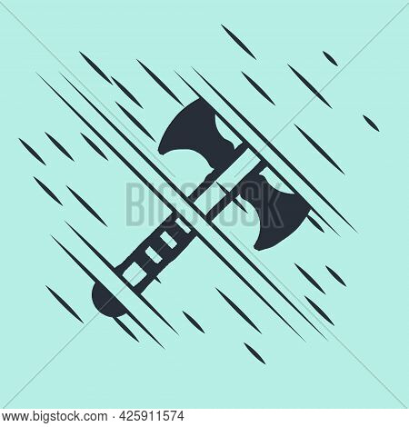 Black War Axe Icon Isolated On Green Background. Battle Axe, Executioner Axe. Medieval Weapon. Glitc