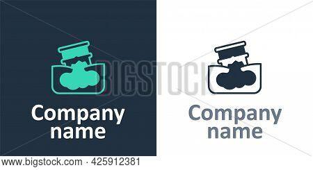 Logotype Barrel Oil Leak Icon Isolated On White Background. Logo Design Template Element. Vector