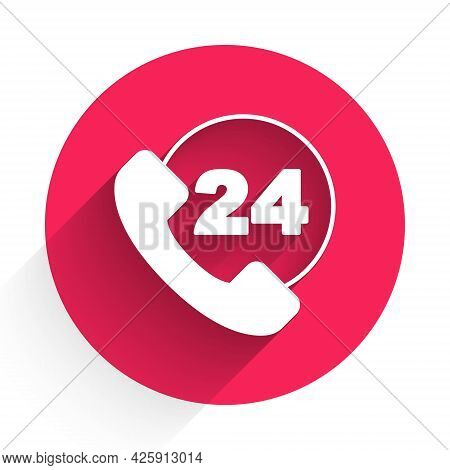 White Telephone 24 Hours Support Icon Isolated With Long Shadow. All-day Customer Support Call-cente