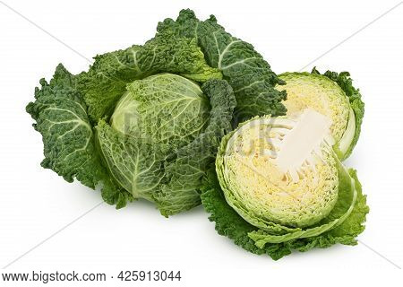 Savoy Cabbage With Half Isolated On White Background With Clipping Path And Full Depth Of Field
