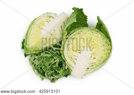 Savoy Cabbage Half Isolated On White Background With Clipping Path And Full Depth Of Field. Top View