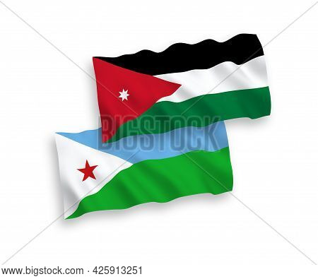 National Fabric Wave Flags Of Republic Of Djibouti And Hashemite Kingdom Of Jordan Isolated On White