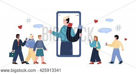 Influencer Young Man On Mobile Phone Screen Holding Magnet For Attraction Buyers