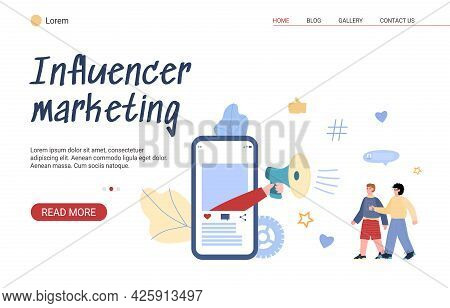 Web Banner For Marketing Influencer On Online Promotion Of Services And Goods.