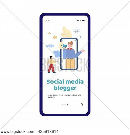 Influencer Woman With Megaphone On Mobile Phone Screen Attraction Followers.
