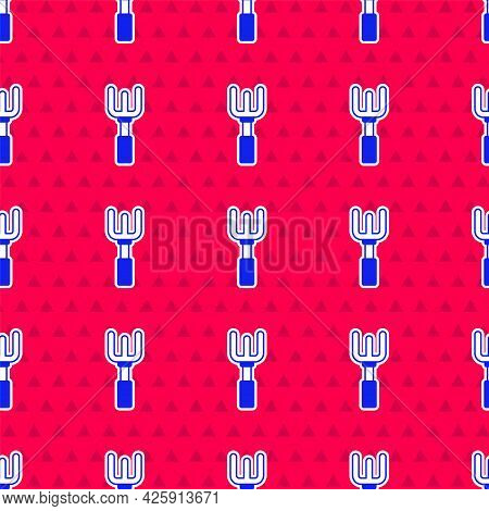 Blue Garden Rake Icon Isolated Seamless Pattern On Red Background. Tool For Horticulture, Agricultur