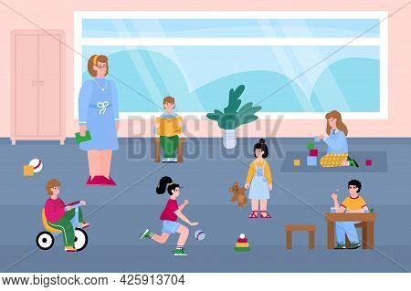 Kids Girls And Boys Play With Toys At Kindergarten Or Playroom.