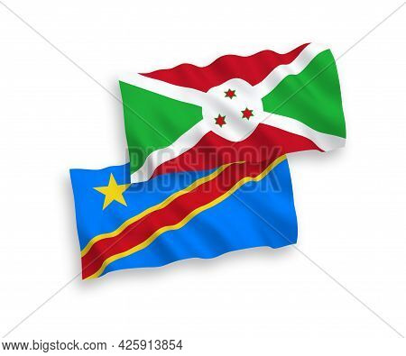 National Fabric Wave Flags Of Burundi And Democratic Republic Of The Congo Isolated On White Backgro