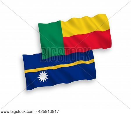 National Fabric Wave Flags Of Republic Of Nauru And Benin Isolated On White Background. 1 To 2 Propo