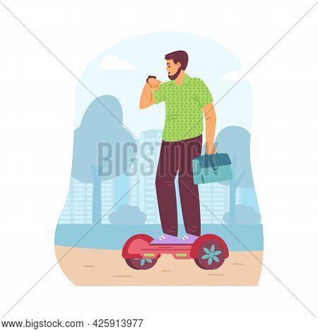 Man Riding Eco Alternative Transport, Flat Vector Illustration Isolated.