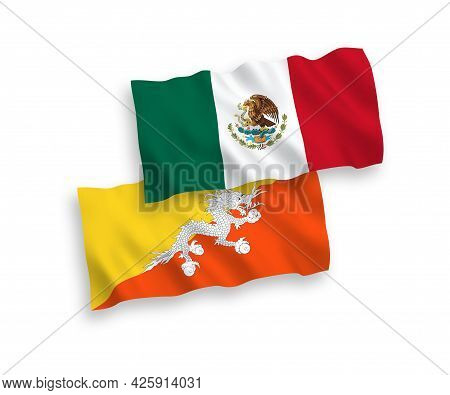 National Fabric Wave Flags Of Mexico And Kingdom Of Bhutan Isolated On White Background. 1 To 2 Prop