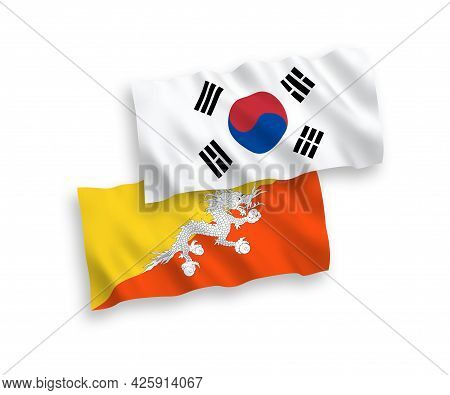 National Fabric Wave Flags Of South Korea And Kingdom Of Bhutan Isolated On White Background. 1 To 2