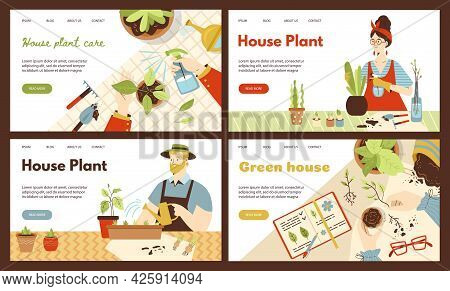 People Care Of Plants In Pots In Home Garden. Man And Woman Growing Green And Floral Houseplants. De