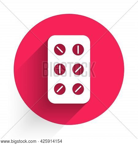 White Pills In Blister Pack Icon Isolated With Long Shadow. Medical Drug Package For Tablet, Vitamin