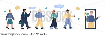 Advertising Marketing Concept Of Influencer Person A Vector Flat Illustration.