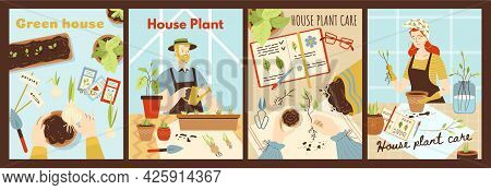 Set Of Cards Or Posters Dedicated To Houseplanting And Green House Concept With Cartoon Characters O