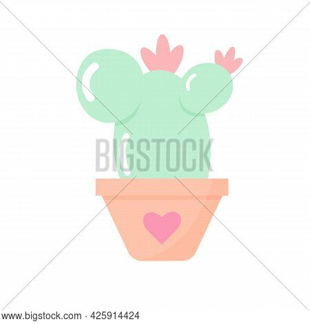Cactus In A Pot In Delicate Pastel Colors. Vector Flat Design Isolated On White Background.