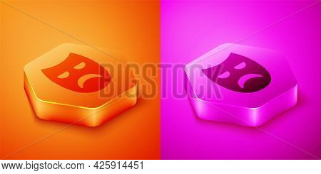 Isometric Drama Theatrical Mask Icon Isolated On Orange And Pink Background. Hexagon Button. Vector