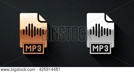Gold And Silver Mp3 File Document. Download Mp3 Button Icon Isolated On Black Background. Mp3 Music