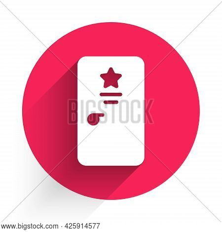 White Backstage Icon Isolated With Long Shadow. Door With A Star Sign. Dressing Up For Celebrities.