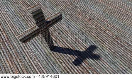 Concept or conceptual cross on a natural wood or wooden texture background. 3d illustration metaphor for God, Christ, Christianity, religious, faith, holy, spiritual, Jesus, belief, resurection