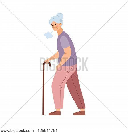 Tired Weak Elderly Woman Moving With Difficulty, Vector Illustration Isolated.