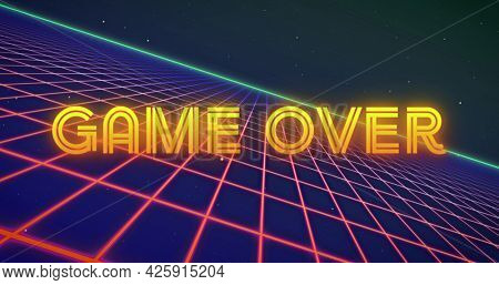 Image of neon flickering game over text over glowing pink grid. retro image game and entertainment concept digitally generated image.