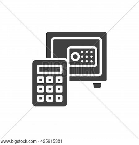 Deposit Calculator Vector Icon. Filled Flat Sign For Mobile Concept And Web Design. Safe Box And Cal