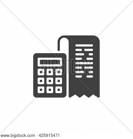 Invoice Calculator Vector Icon. Filled Flat Sign For Mobile Concept And Web Design. Bank Receipt And